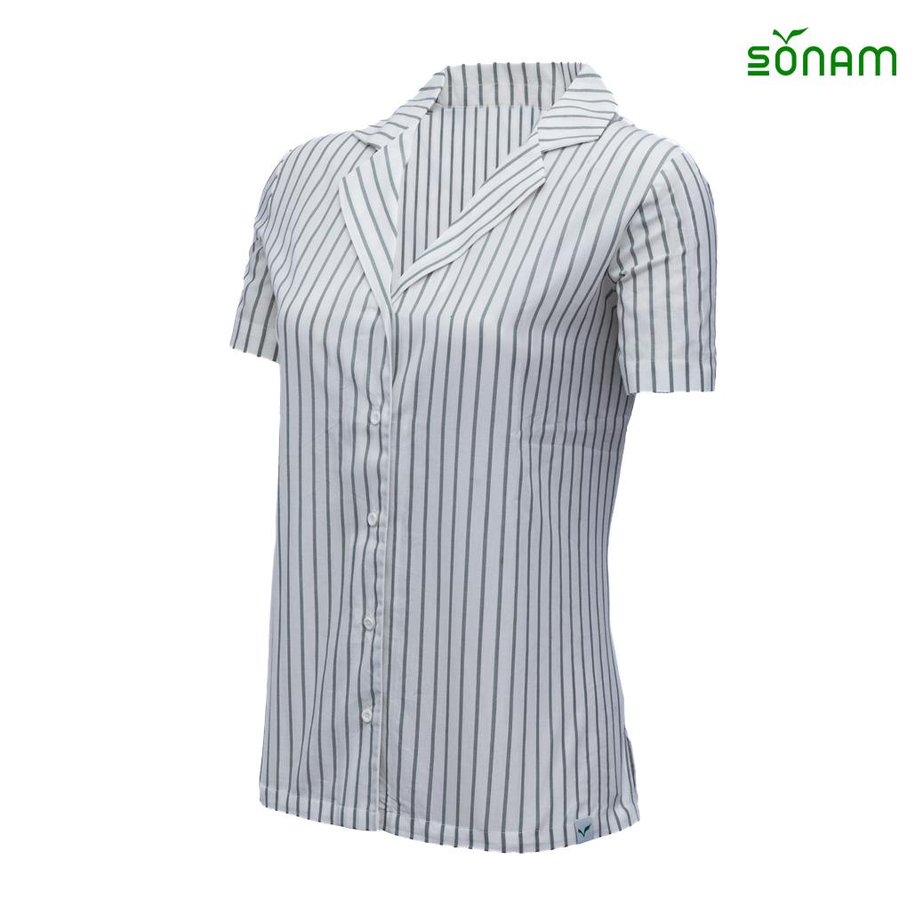 Petra   Women's Striped Open Collar  Shirt #1427
